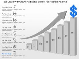 Bar Graph With Growth And Dollar Symbol For Financial Analysis Ppt Template Slide