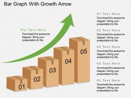 Bar Graph With Growth Arrow Flat Powerpoint Design