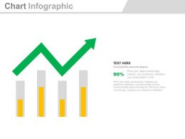 Bar Graph With Growth Arrow For Analysis Powerpoint Slides