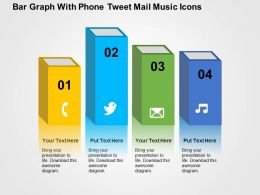 Bar Graph With Phone Tweet Mail Music Icons Flat Powerpoint Design