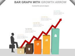 Bar Graph With Red Growth Arrow And Icons For Success Powerpoint Slides
