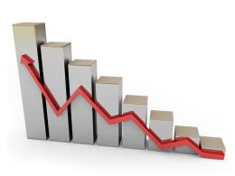 Bar Graph With Red Growth Arrow Stock Photo