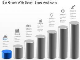 Bar Graph With Seven Steps And Icons Powerpoint Template Slide