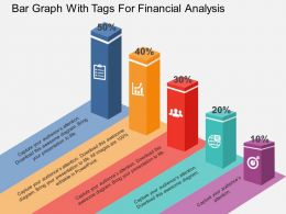 Bar Graph With Tags For Financial Analysis Flat Powerpoint Design