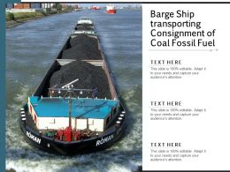 Barge Ship Transporting Consignment Of Coal Fossil Fuel