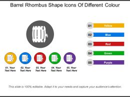 Barrel Rhombus Shape Icons Of Different Colour