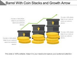 Barrel With Coin Stacks And Growth Arrow