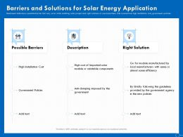 Barriers And Solutions For Solar Energy Application Cost Ppt Powerpoint Presentation