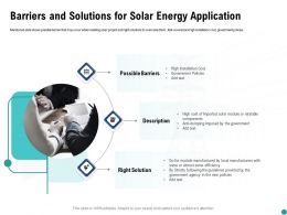 Barriers And Solutions For Solar Energy Application Ppt Powerpoint Presentation Ideas