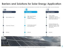 Barriers And Solutions For Solar Energy Application Strictly Ppt Powerpoint Presentation Deck