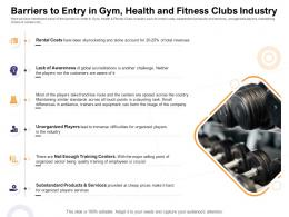 Barriers To Entry In Gym Health ABC Fitness Clubs Industry How Enter Health Fitness Club Market Ppt Skills