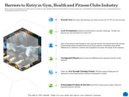 Barriers To Entry In Gym Health And Fitness Clubs Industry Awareness Ppt Powerpoint Presentation Introduction