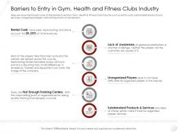 Barriers To Entry In Gym Health And Fitness Clubs Industry Market Ppt Diagrams