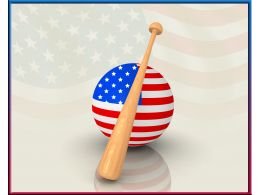 Baseball Bat With Flag Of America Over The Globe Stock Photo