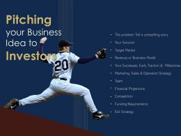 Baseball Pitch Investor Pitch Deck Outline Raising Capital Venture Capitalists