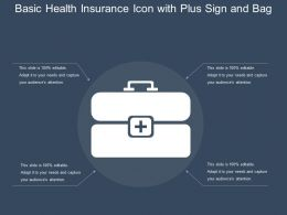 Basic Health Insurance Icon With Plus Sign And Bag