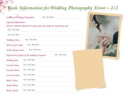 Basic Information For Wedding Photography Event Ppt Powerpoint Presentation Visual Aids