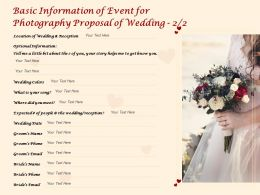 Basic Information Of Event For Photography Proposal Of Wedding Optional Ppt Powerpoint Presentation Gallery