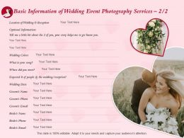 Basic Information Of Wedding Event Photography Services L1514 Ppt Powerpoint Templates