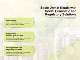 Basic Unmet Needs With Social Economic And Regulatory Solutions