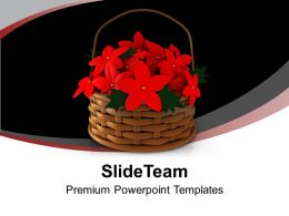Basket Full Of Red Flowers PowerPoint Templates PPT Backgrounds For Slides 0113