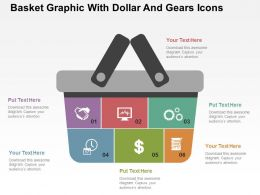 Basket Graphic With Dollar And Gears Icons Flat Powerpoint Design