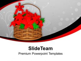 Basket Of Bright Red Flowers PowerPoint Templates PPT Backgrounds For Slides 0113