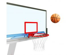 Basketball Going Inside The Ring Stock Photo