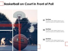 Basketball On Court In Front Of Poll