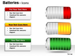 Batteries Icons Powerpoint Presentation Slides
