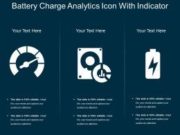 Battery Charge Analytics Icon With Indicator