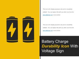 Battery Charge Durability Icon With Voltage Sign
