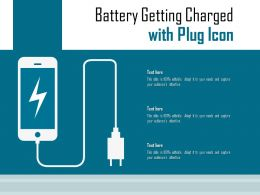 Battery Getting Charged With Plug Icon