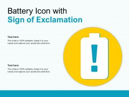 Battery Icon With Sign Of Exclamation