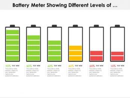 Battery Meter Showing Different Levels Of Percentage