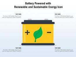 Battery Powered With Renewable And Sustainable Energy Icon
