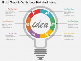 bb Bulb Graphic With Idea Text And Icons Flat Powerpoint Design