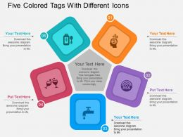 bb Five Colored Tags With Different Icons Flat Powerpoint Design