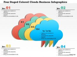Bb Four Staged Colored Clouds Business Infographics Powerpoint Templets
