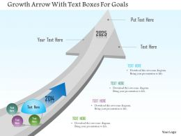 Bb Growth Arrow With Text Boxes For Goals Powerpoint Template