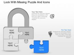 bb Lock With Missing Puzzle And Icons Powerpoint Template