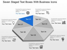 Bb Seven Staged Text Boxes With Business Icons Powerpoint Template
