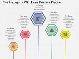 bc Five Hexagons With Icons Process Diagram Flat Powerpoint Design