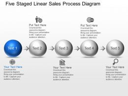 Bc Five Staged Linear Sales Process Diagram Powerpoint Template Slide