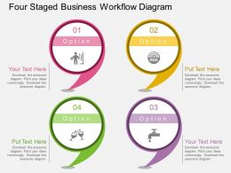 bc Four Staged Business Workflow Diagram Flat Powerpoint Design