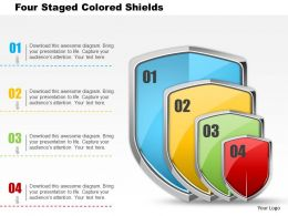 Bc Four Staged Colored Shields Powerpoint Templets