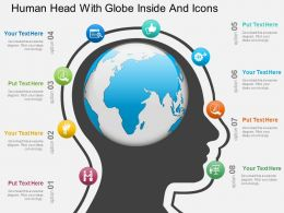 Bc Human Head With Globe Inside And Icons Powerpoint Template