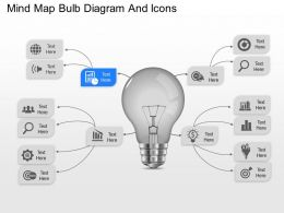 bc Mind Map Bulb Diagram And Icons Powerpoint Template