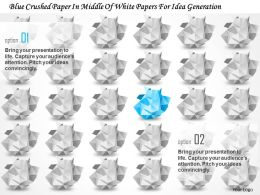 bd_blue_crushed_paper_in_middle_of_white_papers_for_idea_generation_powerpoint_template_Slide01