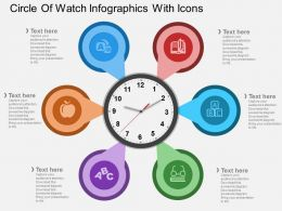 bd Circle Of Watch Infographics With Icons Flat Powerpoint Design